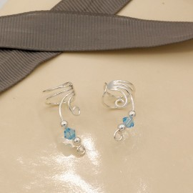 Stone Earrings, wire earcuff with crystal bead